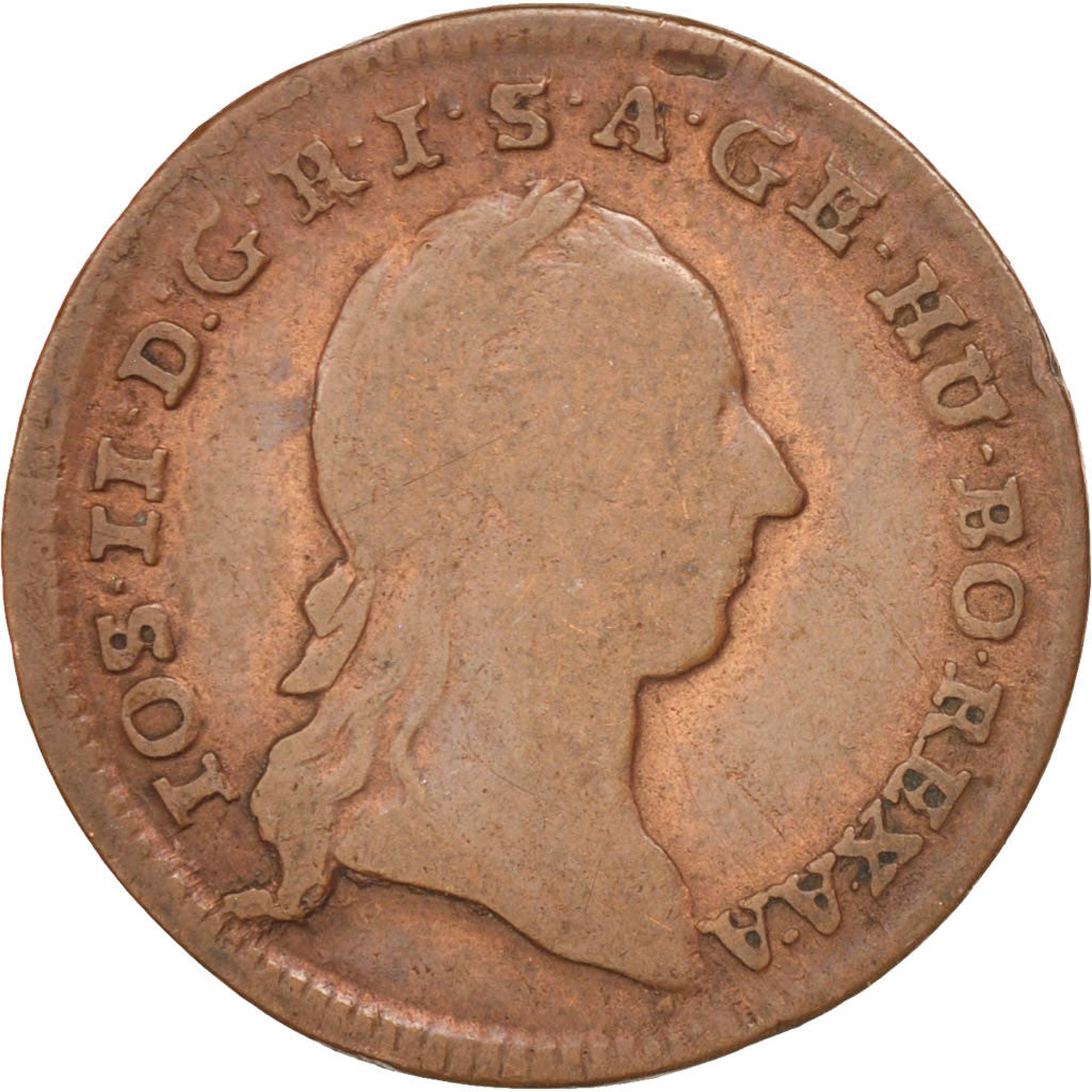AUSTRIA, 1/2 Kreuzer, 1783, Hall, KM #2053, VF(20-25), Copper, 17.27, 3.78