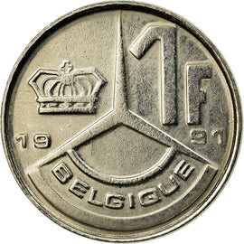 Coin, Belgium, Franc, 1991, Paris, EF(40-45), Nickel Plated Iron, KM:170