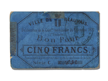 FRANCE, Beauvais, 5 Francs, 1870, 1870-10-08, EF(40-45), Jérémie #60.01.A