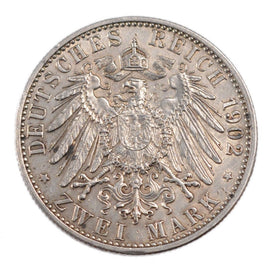 Coin, German States, BADEN, Friedrich I, 2 Mark, 1902, AU(55-58), Silver, KM:271