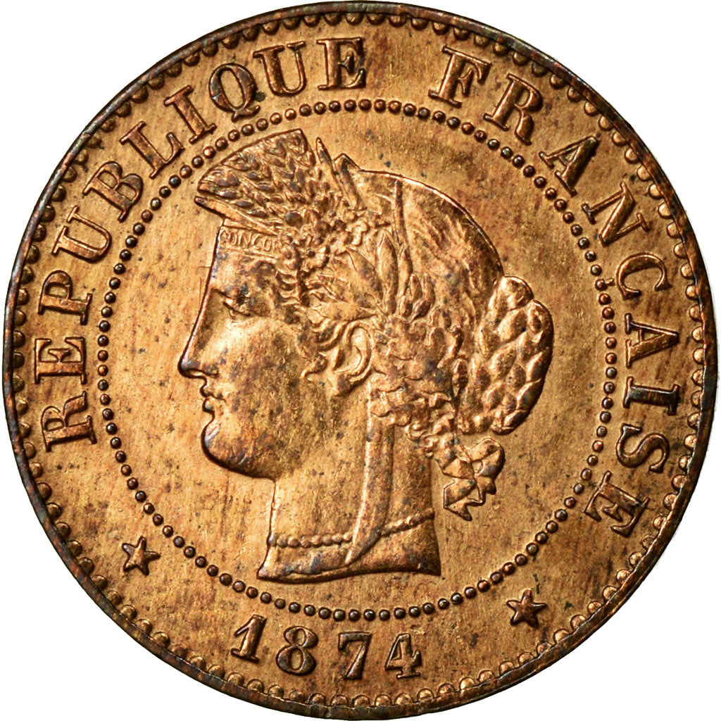 Coin, France, Cérès, Centime, 1874, Paris, AU(55-58), Bronze, KM:826.1