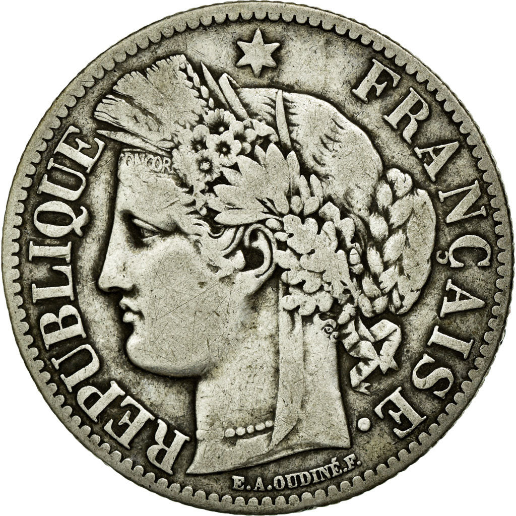 Coin, France, Cérès, 2 Francs, 1871, Paris, EF(40-45), Silver, Gadoury:530