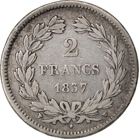 FRANCE, Louis-Philippe, 2 Francs, 1837, Lille, KM #743.13, EF(40-45), Silver,...