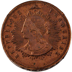 Coin, France, 10 Centimes, 1848, MS(60-62), Copper, Gadoury:236AP