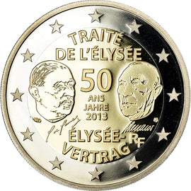 France, 2 Euro, Traité de l'Elysée, 2013, BE, MS(65-70), Bi-Metallic