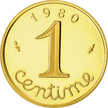 Coin, France, Centime, 1980, MS(65-70), Gold, KM:P655, Gadoury:4.P3