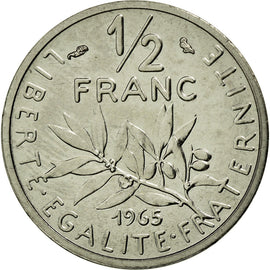 Coin, France, 1/2 Franc, 1965, MS(65-70), Nickel, KM:P353, Gadoury:429P