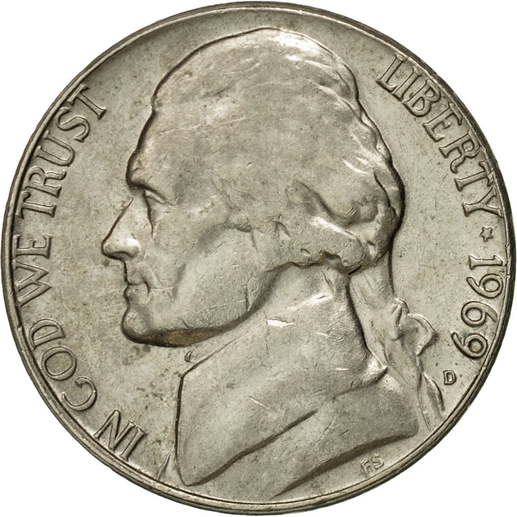 1969 S Proof United States Jefferson Nickel 5c Coin