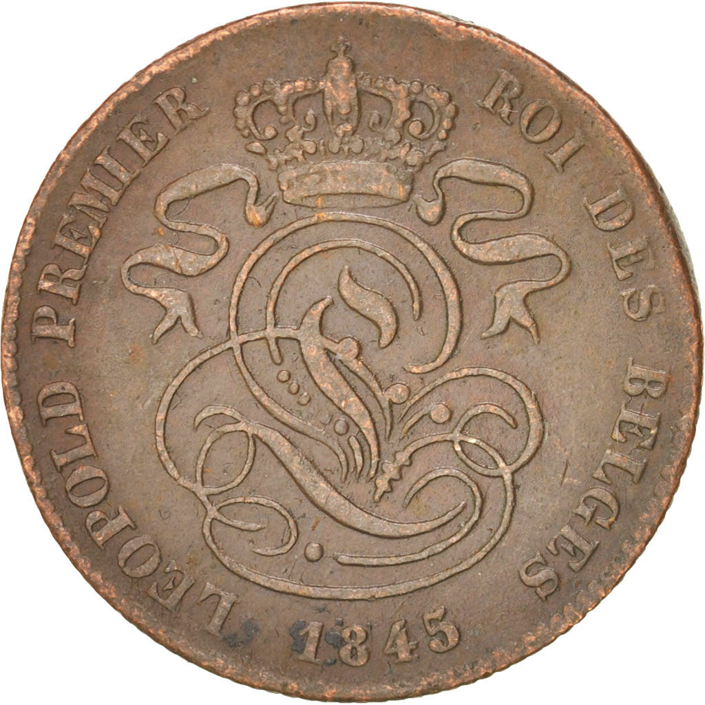 Belgium, 2 Centimes, 1845, KM:4.4, VF(30-35), Copper