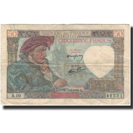 France, 50 Francs, Jacques Coeur, 1940-06-13, F(12-15), Fayette:19.1, KM:93