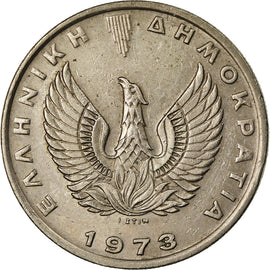Coin, Greece, 10 Drachmai, 1973, AU(50-53), Copper-nickel, KM:110