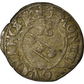 Coin, France, Charles IV et Nicole, Denarius, Nancy, VF(30-35), Billon