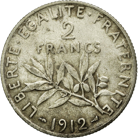 Coin, France, Semeuse, 2 Francs, 1912, Paris, EF(40-45), Silver, Gadoury:532