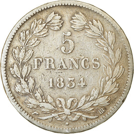 Coin, France, Louis-Philippe, 5 Francs, 1834, Strasbourg, VF(20-25), Silver