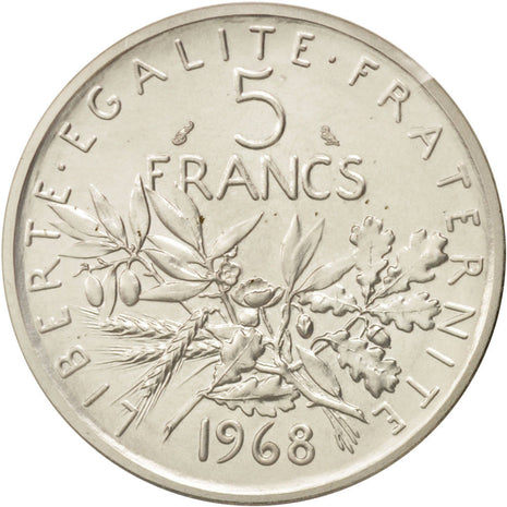 Coin, France, 5 Francs, 1968, MS(65-70), Silver, KM:P404, Gadoury:153.P3