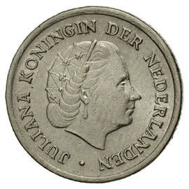 Coin, Netherlands, Juliana, 10 Cents, 1957, EF(40-45), Nickel, KM:182