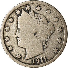 Coin, United States, Liberty Nickel, 5 Cents, 1911, U.S. Mint, Philadelphia