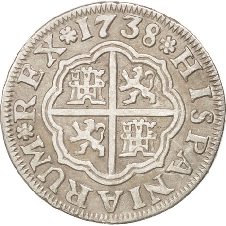 SPAIN, Real, 1738, Seville, KM #354, EF(40-45), Silver, 2.76