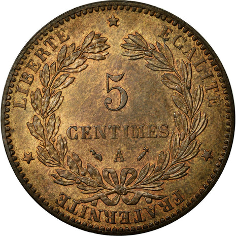 Coin, France, Cérès, 5 Centimes, 1890, Paris, MS(60-62), Bronze, KM:821.1