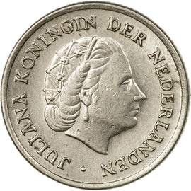 Coin, Netherlands, Juliana, 10 Cents, 1956, EF(40-45), Nickel, KM:182