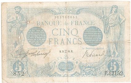 Banknote, France, 5 Francs, 5 F 1912-1917 ''Bleu'', 1916, 1916-05-31, VF(20-25)