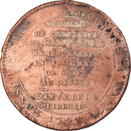 token, France, 5 Sols, 1792, Birmingham, VF(20-25), Bronze, KM:Tn31, Brandon:223