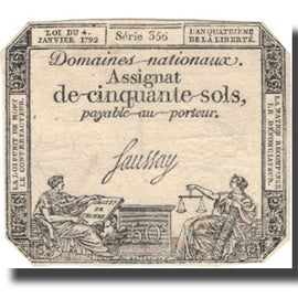 France, 50 Sols, 1792, 1792-01-04, EF(40-45), KM:A56