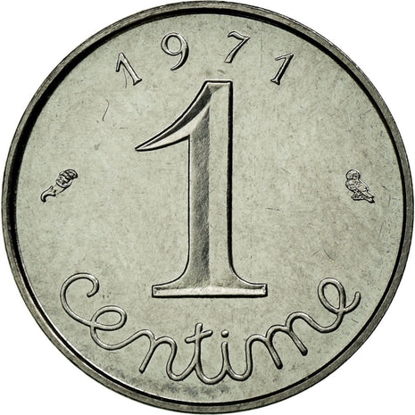 Coin, France, Épi, Centime, 1971, MS(65-70), Stainless Steel, Gadoury:91