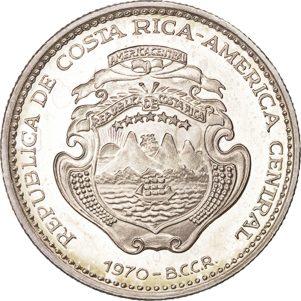 Coin Costa Rica 2 Colones 1970 Ms63 Silver Km190