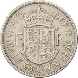 Coin, Great Britain, Elizabeth II, 1/2 Crown, 1956, EF(40-45), Copper-nickel