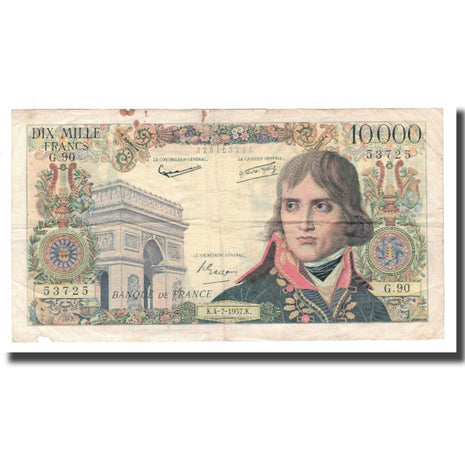 France, 10 000 Francs, Bonaparte, 1957, 1957-07-04, VF(20-25), Fayette:51.07