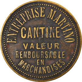 Coin, France, Entreprise Martino, Cantine, 10 Centimes, VF(30-35), Brass