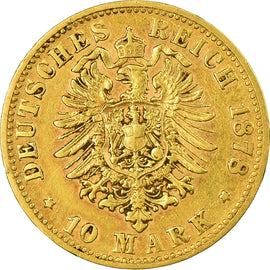 Coin, German States, BAVARIA, Ludwig II, 10 Mark, 1878, Munich, EF(40-45), Gold
