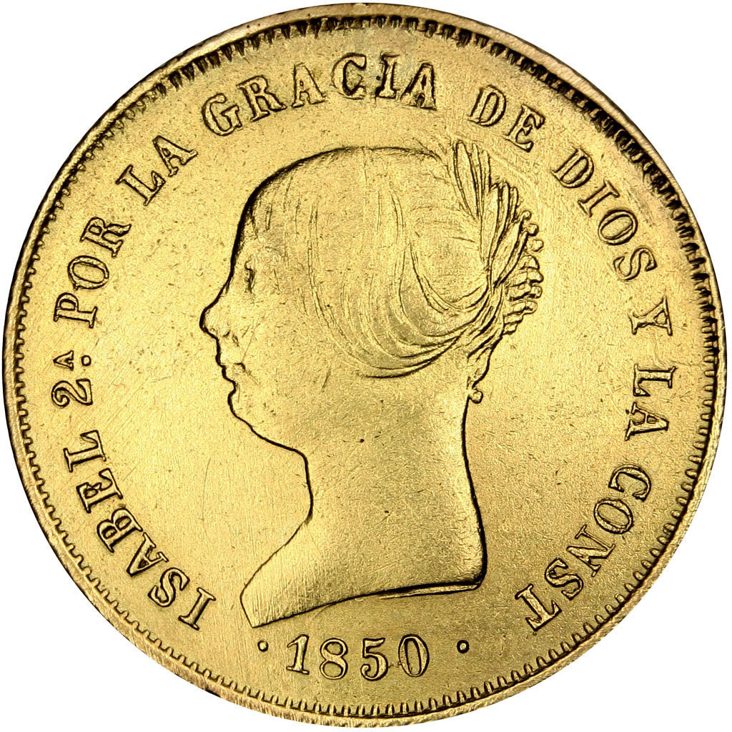 SPAIN, 100 Reales, 1850, Madrid, KM #594.2, AU(50-53), Gold, 8.14