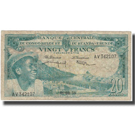Banknote, Belgian Congo, 20 Francs, 1959, 1959-08-01, KM:31, VF(20-25)