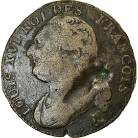 Coin, France, Louis XVI, 12 Deniers, 1792, Clermont-Ferrand, VF(20-25), Métal