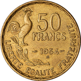 Coin, France, Guiraud, 50 Francs, 1954, Beaumont - Le Roger, AU(50-53)