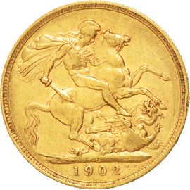 AUSTRALIA, Sovereign, 1902, Perth, KM #15, EF(40-45), Gold, 21, 7.97