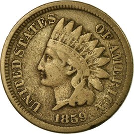 Coin, United States, Indian Head Cent, Cent, 1859, U.S. Mint, Philadelphia