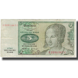 Banknote, GERMANY - FEDERAL REPUBLIC, 5 Deutsche Mark, 1960-01-02, KM:18a