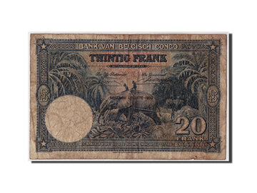 Banknote, Belgian Congo, 20 Francs, 1950, 1950-04-11, VF(20-25)