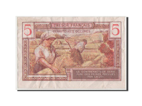 France, 5 Francs, 1947 French Treasury, 1947, KM #M6a, VF(30-35), A.01558293,...