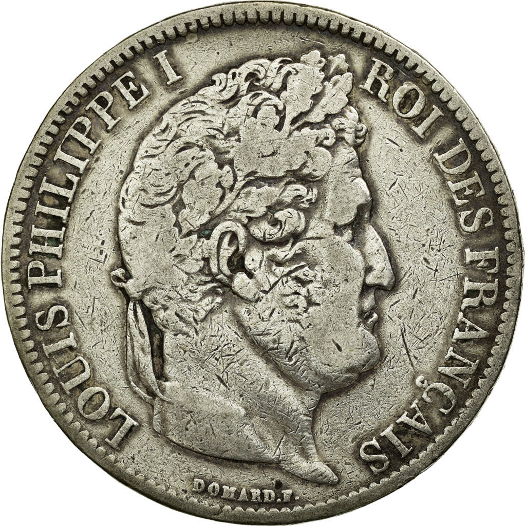 Coin, France, Louis-Philippe, 5 Francs, 1831, Lyon, VF(20-25), Silver
