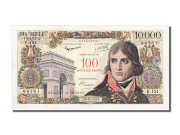 Banknote, France, 100 Nouveaux Francs on 10,000 Francs, 1955-1959 Overprinted
