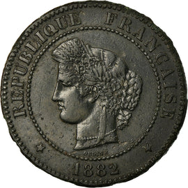 Coin, France, Cérès, 5 Centimes, 1882, Paris, EF(40-45), Bronze, KM:821.1
