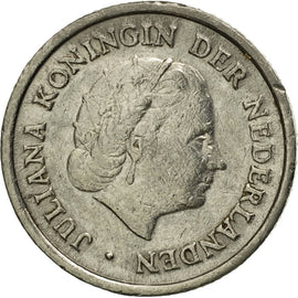 Coin, Netherlands, Juliana, 10 Cents, 1951, VF(30-35), Nickel, KM:182