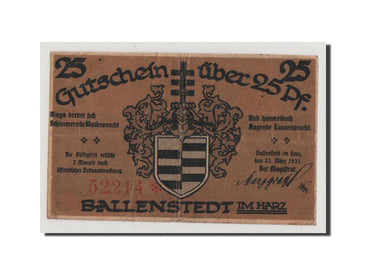 Germany, Ballenstedt am Harz, 25 Pfennig, 1921, UNC(60-62), 52214, Mehl #61.3