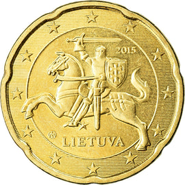 Lithuania, 20 Euro Cent, 2015, AU(55-58), Brass