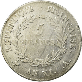 Coin, France, 5 Francs, An XI, Paris, VF(20-25), Silver, KM:650.1, Gadoury:577
