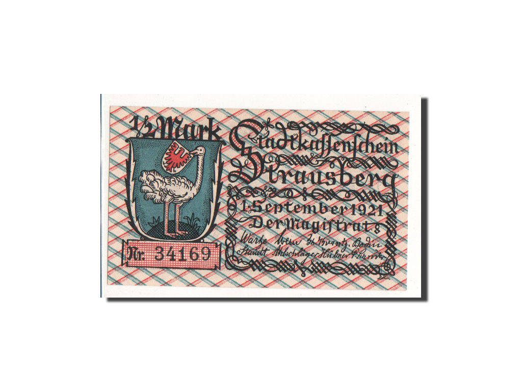 Germany Strausberg 1/2 Mark 1921 1921-09-01 UNC(65-70) 34169 Mehl:1281.1